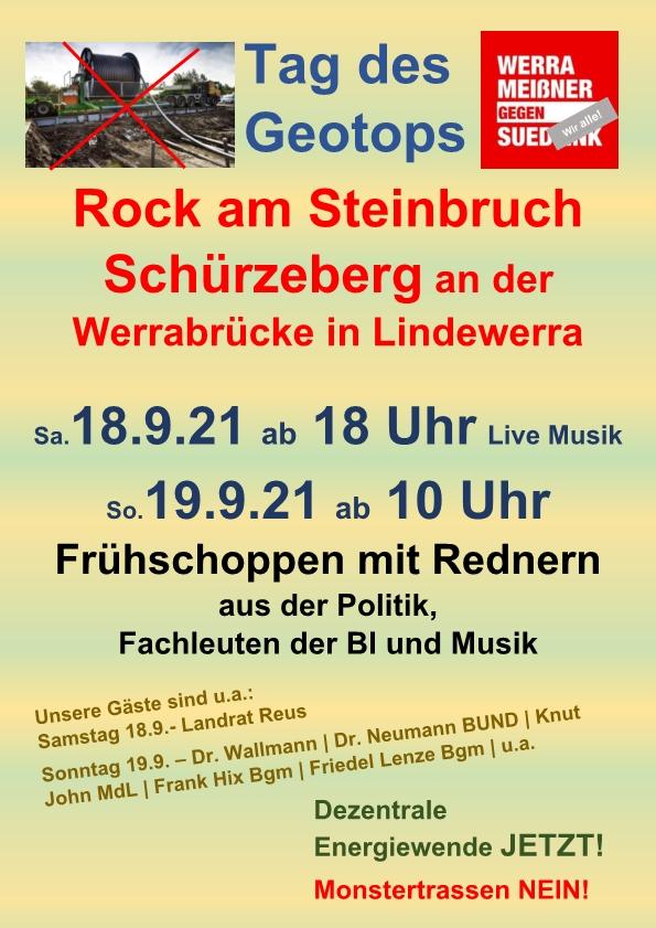 Rock am Steinbruch 18.09.2021 und Frühschoppen mit Rednern am 19.09.2021